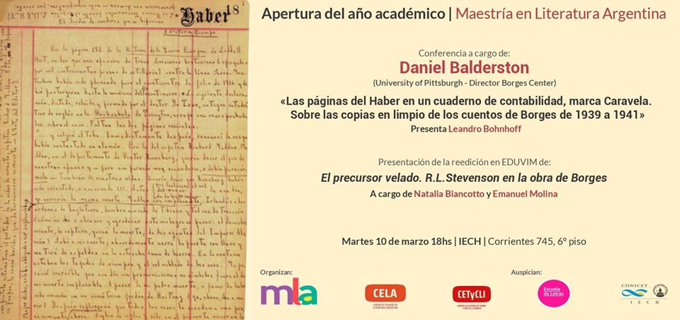 Conferencia a cargo de Daniel Balderston (University of Pittsburgh - Director Borges Center)